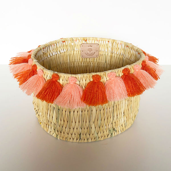 SEVERINE basket with tassels- SUNSET