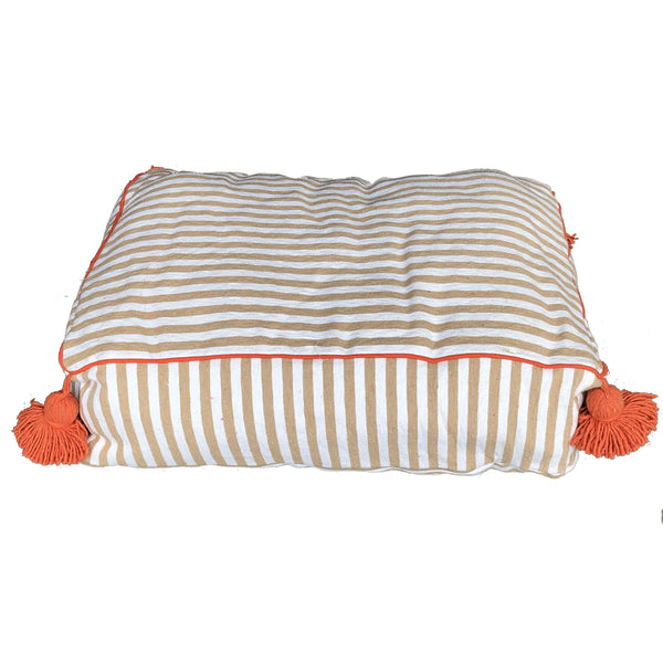 large PET BED - beige/white/orange-atelierBOEMIA