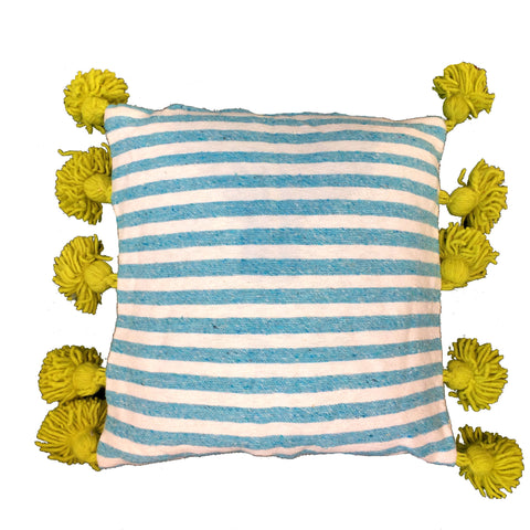 LINA pillow cover-blue/white/lime-atelierBOEMIA