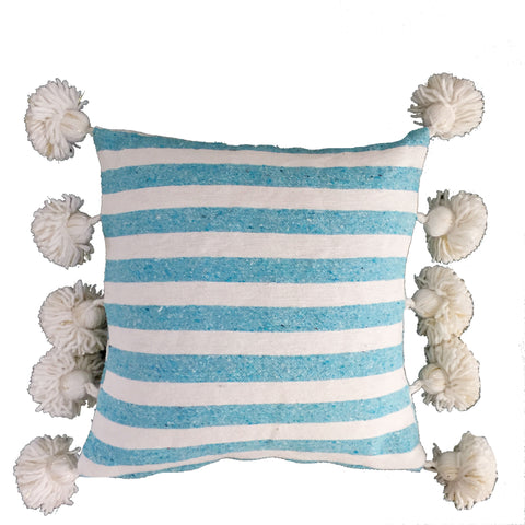 LINA pompom pillow cover - blue/white/gold
