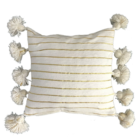 LINA pompom pillow cover - white/gold/white