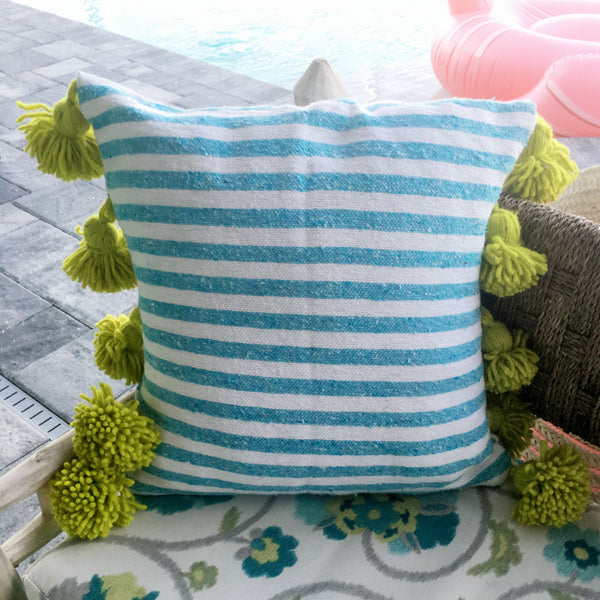 LINA pillow cover BLUE/WHITE/LIME