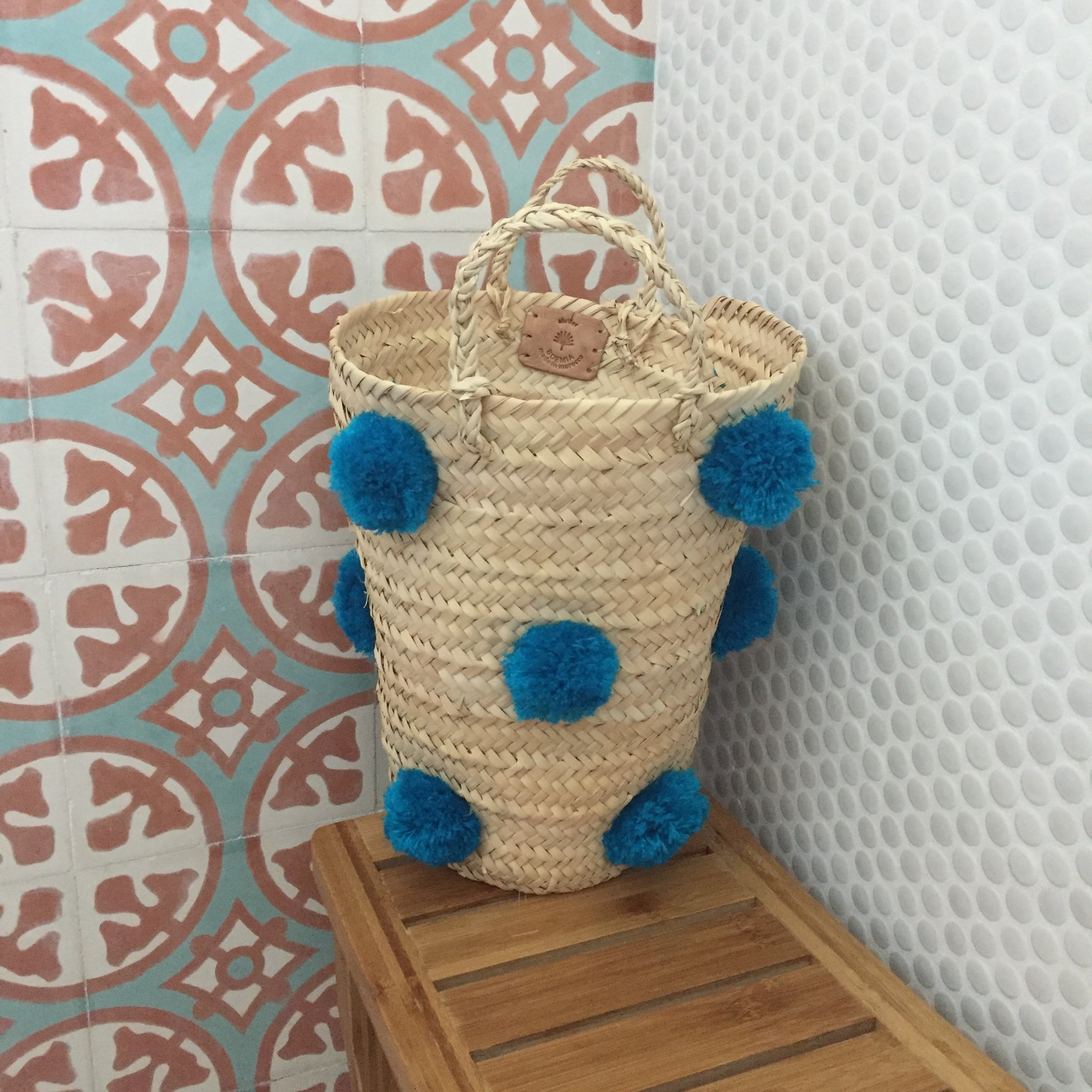 OTHELLO pompom basket TURQUOISE