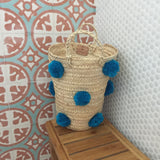 OTHELLO pompom basket - turquoise