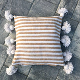 LINA pompom pillow cover - white/beige/white