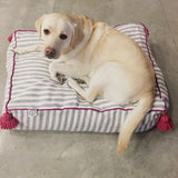 large PET BED - grey/white/fuchsia