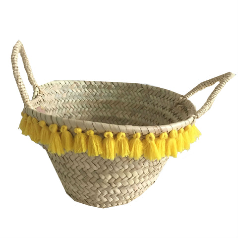 LINUS basket with tassels YELLOW