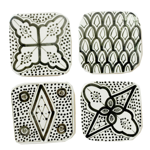 Moroccan porcelain COASTERS - set of 4 BLACK
