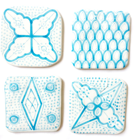 Moroccan porcelain COASTERS - set of 4 TURQUOISE