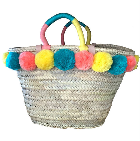 SALVATORE Moroccan pompom shopping basket