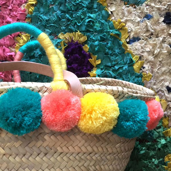 SALVATORE pompom shopping basket