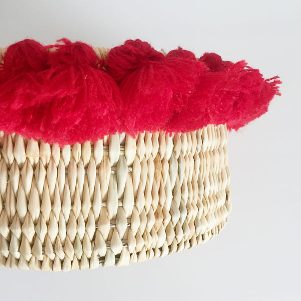 SEVERINE basket with tassels- small RED