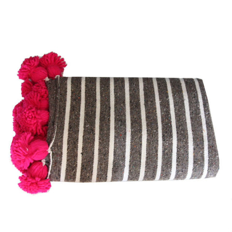 ASSIA throw - gray/white/fuchsia