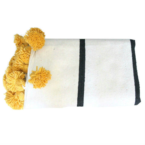 ASSIA throw - white/black/saffron