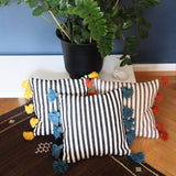 LINA pillow cover - black/white/turquoise
