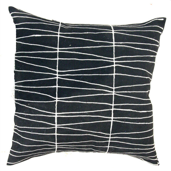 LINES MUDCLOTH pillow cover large BLACK