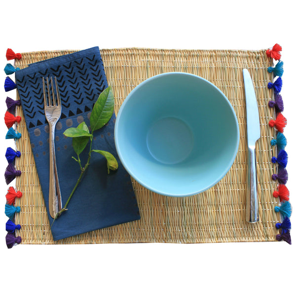 LOLA placemat with tassels JEWEL TONES