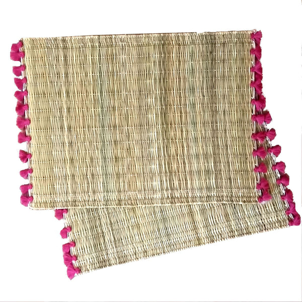 LOLA placemat with tassels FUCHSIA