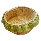 SEVERINE tassel basket small - succulent greens