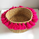SEVERINE tassel basket small - fuchsia