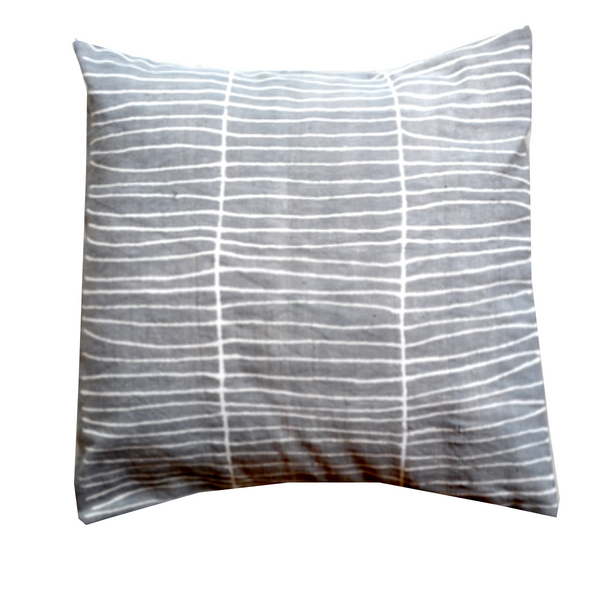 MUDCLOTH pillow cover - grey/white lines-atelierBOEMIA