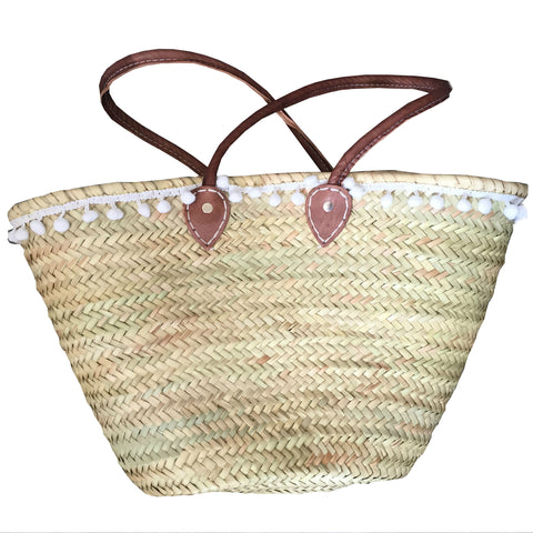 ALDA Moroccan pompom trim shopping basket