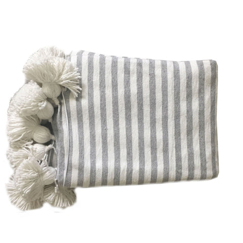 ASSIA throw - white/grey/white
