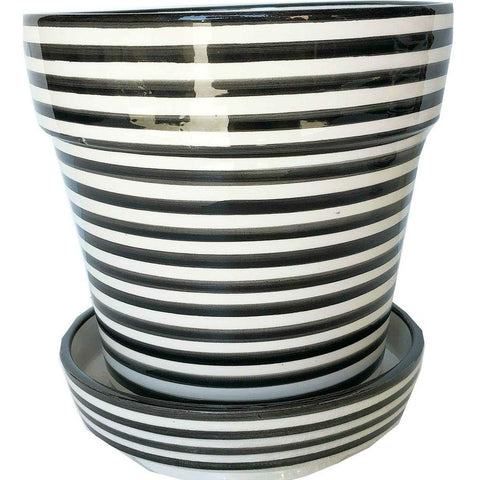 BULLSEYE ceramic planter with saucer - BLACK