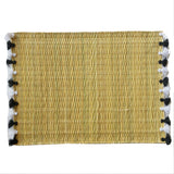 LOLA placemat with tassels BLACK/WHITE