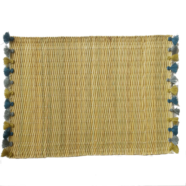 LOLA placemat with tassels CERULEAN HAZE
