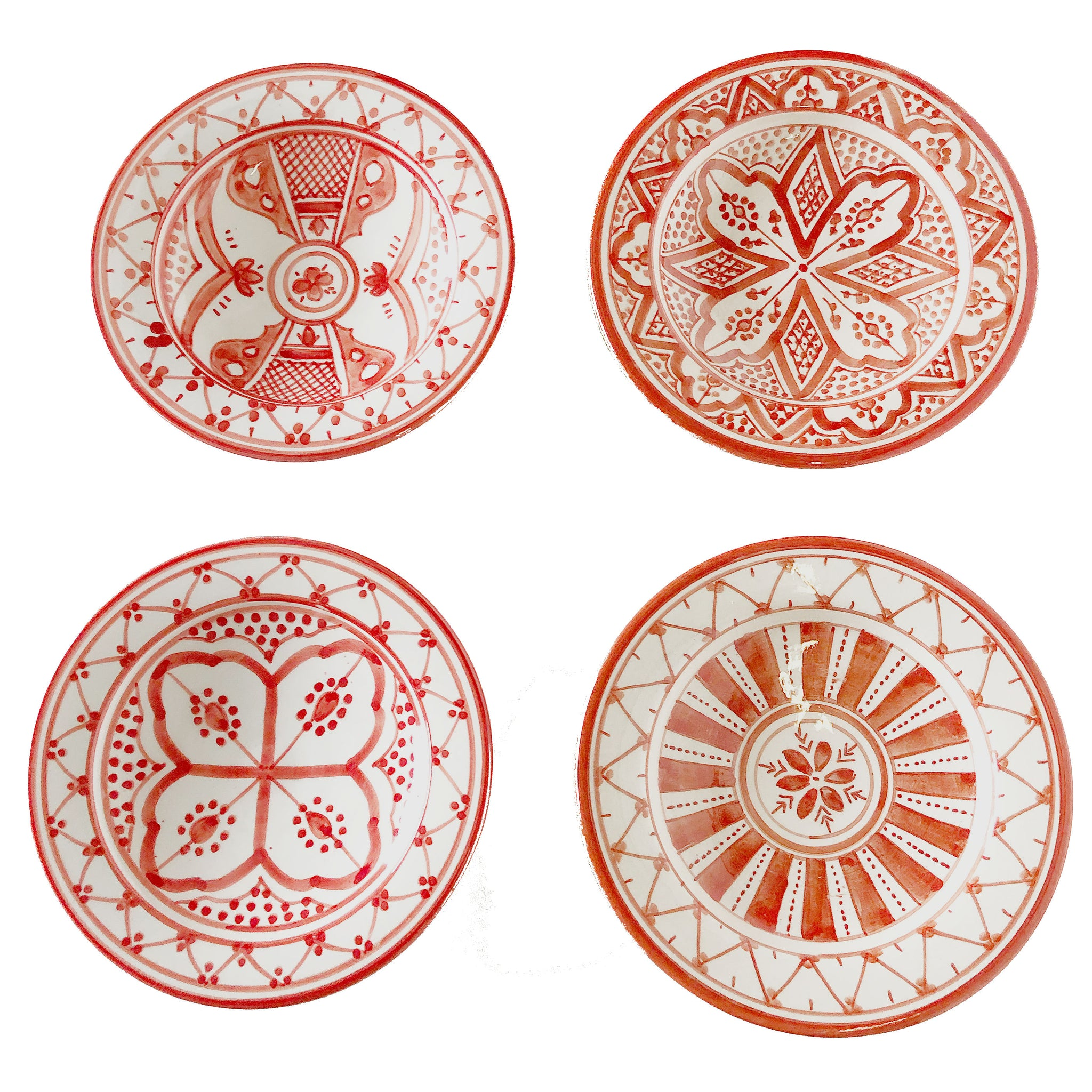 SAFI APPETIZER plates set of 4 CORAL
