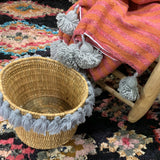 SEVERINE tassel basket large - gray