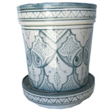 SAFI ceramic planter with saucer - GRAY