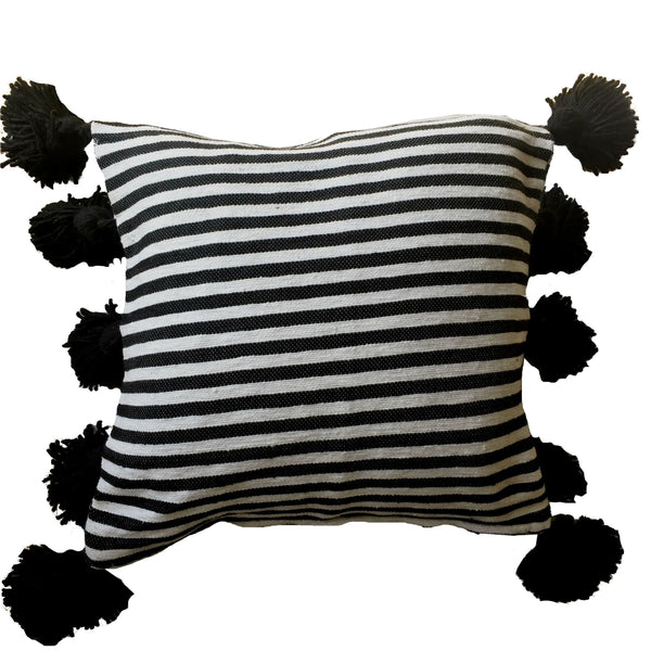 LINA pillow cover-black/white/-atelierBOEMIA