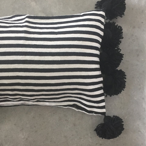 LINA lumbar pillow cover - black/white/black