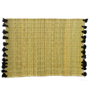 LOLA placemat with tassels BLACK