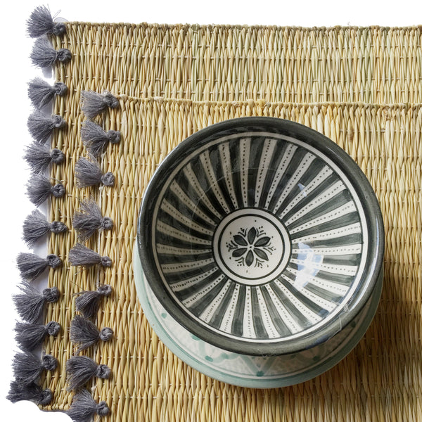 LOLA placemat with tassels GRAY