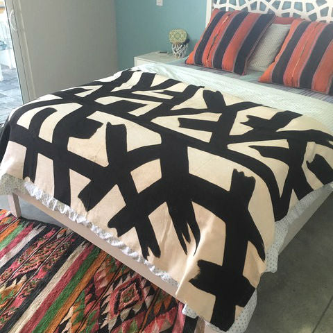 MUDCLOTH twin bed cover - black KELLY