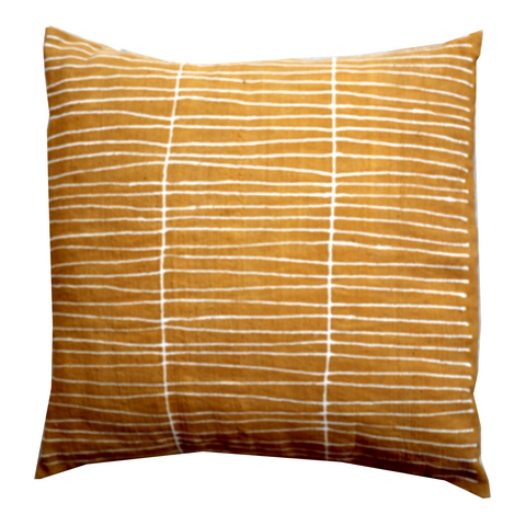 MUDCLOTH pillow cover yellow/white lines