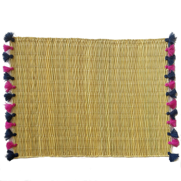 LOLA placemat with tassels NAVY/BERRY