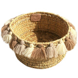 SEVERINE basket with tassels- small CAPPUCCINO
