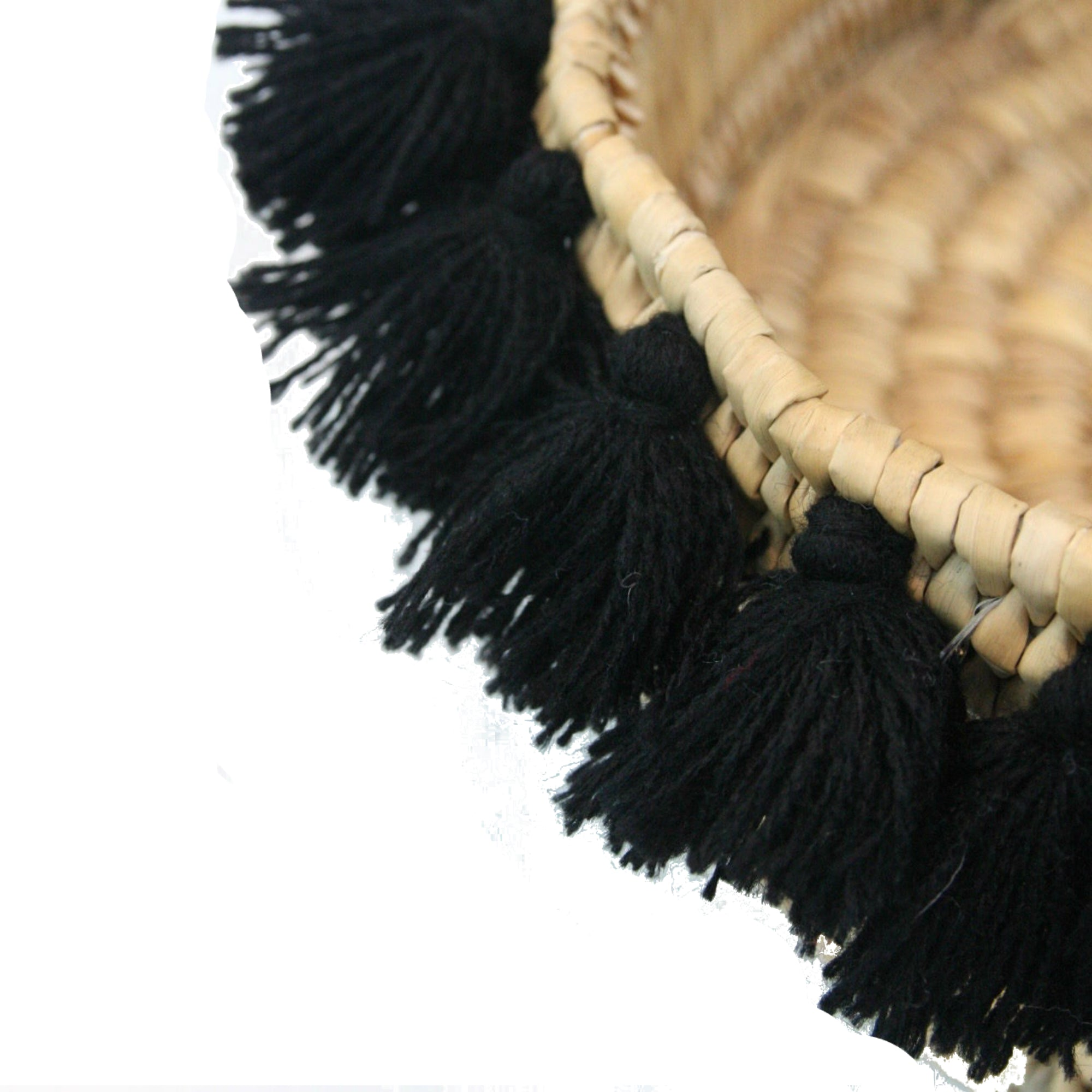 SEVERINE basket with tassels- small BLACK