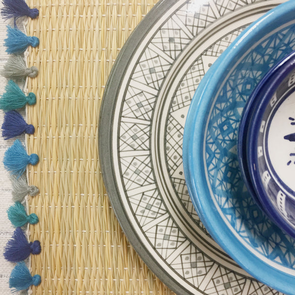 LOLA placemat with tassels AEGEAN SEA