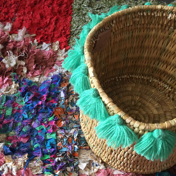 SEVERINE basket with tassels- large MINT GREEN