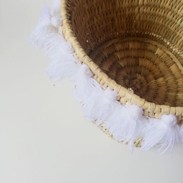 SEVERINE basket with tassels- large WHITE