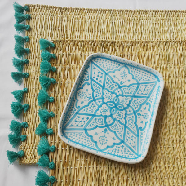 LOLA placemat with tassels TURQUOISE