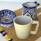 Porcelain MUGS - set of 2 yellow/orange