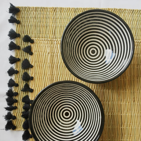 BULLSEYE SALAD BOWL set of 4 BLACK