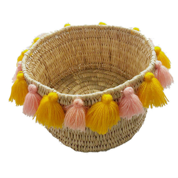 SEVERINE basket with tassels- small SORBET/ORANGE