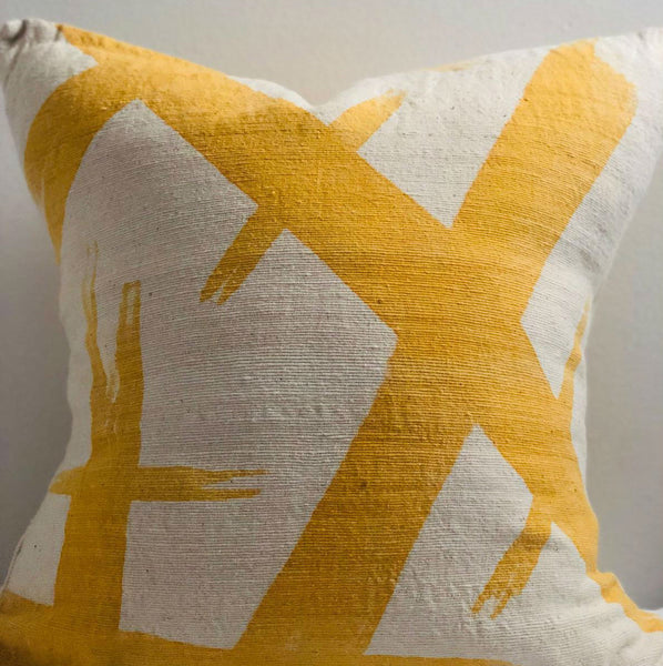 KELLY MUDCLOTH pillow cover large YELLOW